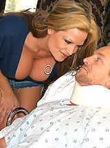 Kelly Madison hired Holly Morgan as Ryan's nurse when a not so broken cock popped out from under the sheets.