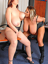 Busty lesbian office babes toying
