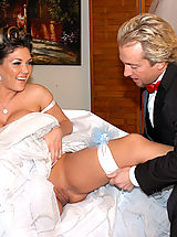 Claire Dames gets pile drived on her wedding day and a load squirt on her that she licks up.