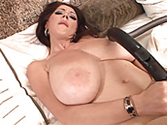 Big boobed Merilyn plays with herself in a maid uniform