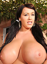Busty Leanne Crow showing her big tits outdoors