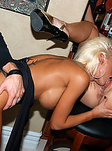 Kelly Madison and Krystal Steal eat some pussy and get revved up for some cock sucking and riding.