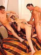 Horny busty slut Terry Nova fucked hard & cummed by two men