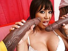 Ava Devine sucks and fucks 2 monster dicks!